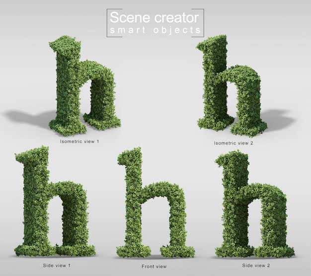 3d rendering of bushes in shape of letter h