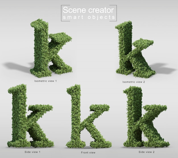 3d rendering of bushes in shape of letter k