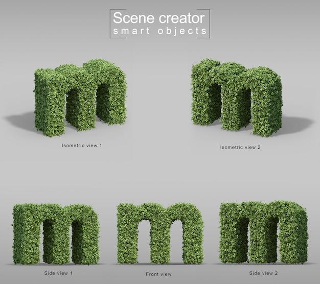 3d rendering of bushes in shape of letter m