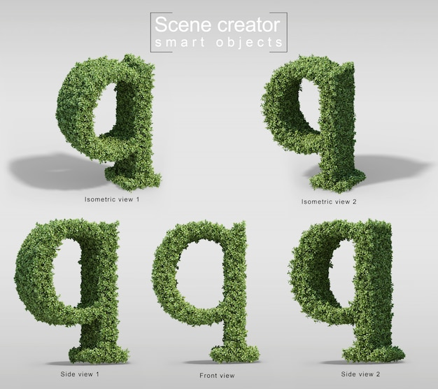 3d rendering of bushes in shape of letter q