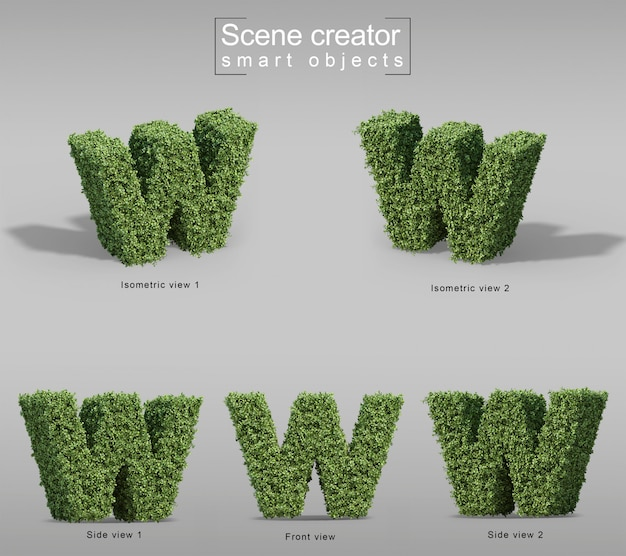 3d rendering of bushes in shape of letter w