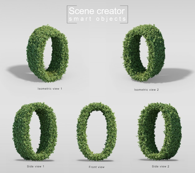 3d rendering of bushes in shape of number 0