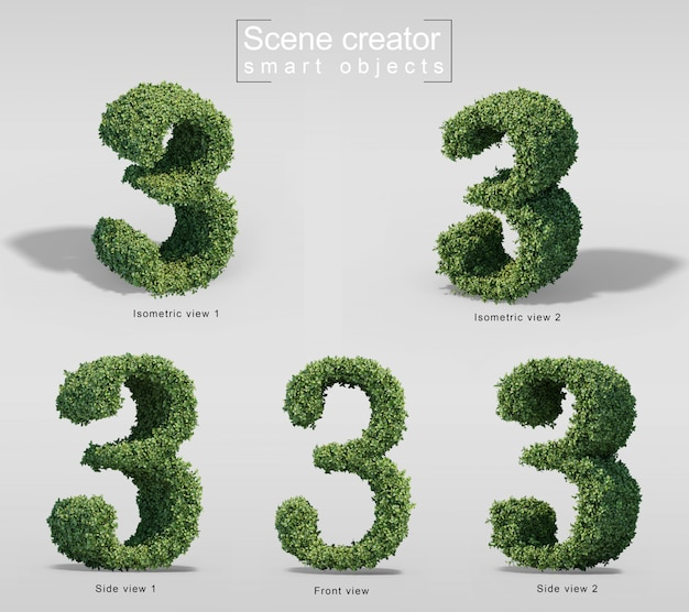 3d rendering of bushes in shape of number 3