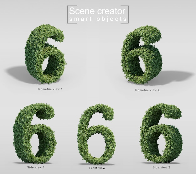 3d rendering of bushes in shape of number 6