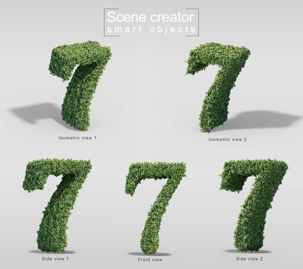 3d rendering of bushes in shape of number 7
