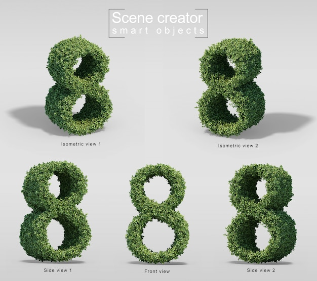 3d rendering of bushes in shape of number 8