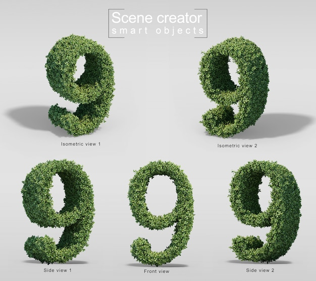 3d rendering of bushes in shape of number 9