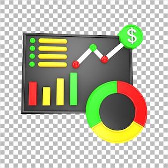分離された3dレンダリングビジネスデータ分析インフォグラフィックダッシュボード