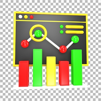 3dレンダリングビジネスデータ分析インフォグラフィックダッシュボード