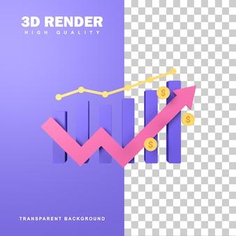 그래프 증분으로 3d 렌더링 비즈니스 성장 개념.