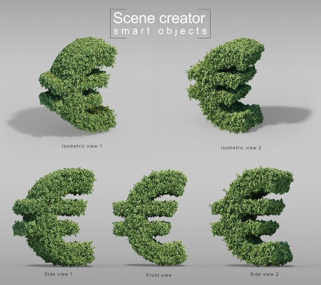 3d rendering of buxus  euro money symbol