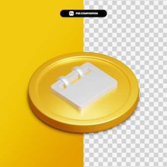 3d rendering calendar icon on golden circle isolated