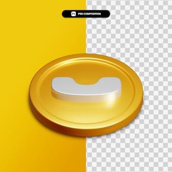고립 된 황금 동그라미에 3d 렌더링 전화 아이콘