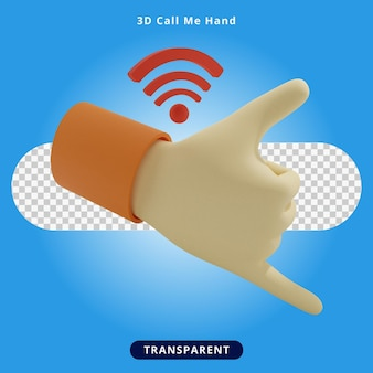 3d rendering call me hand illustration