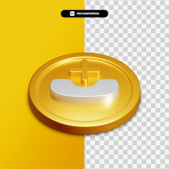 고립 된 황금 동그라미에 3d 렌더링 전화 부재 중 아이콘