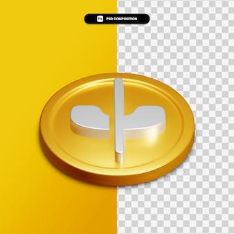 고립 된 황금 동그라미에 3d 렌더링 전화 침묵 아이콘
