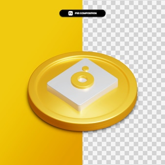 3d rendering camera icon on golden circle isolated