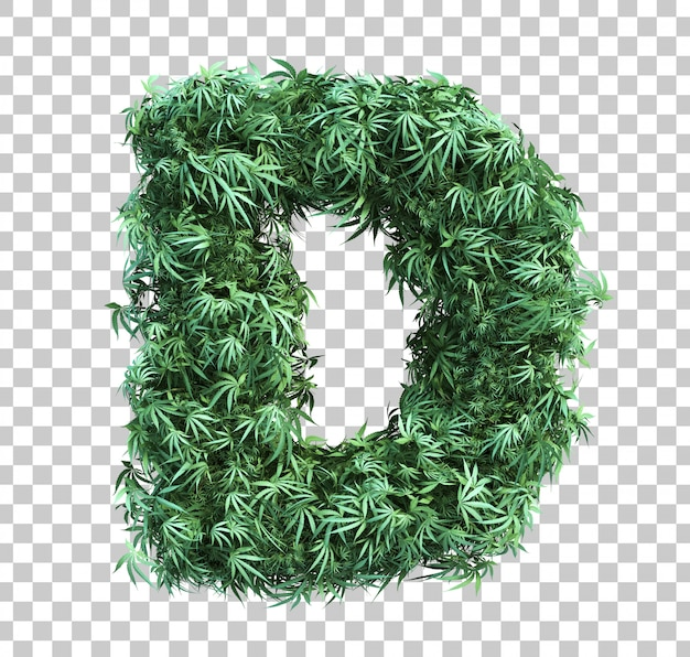 3d rendering of cannabis alphabet d