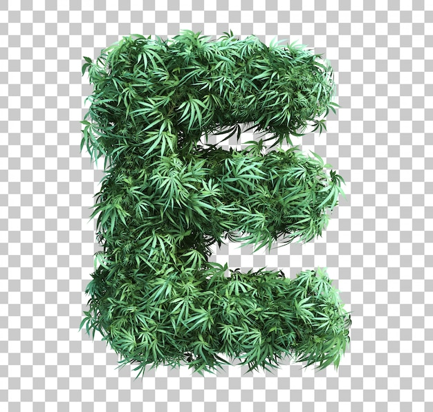 3d rendering of cannabis alphabet e