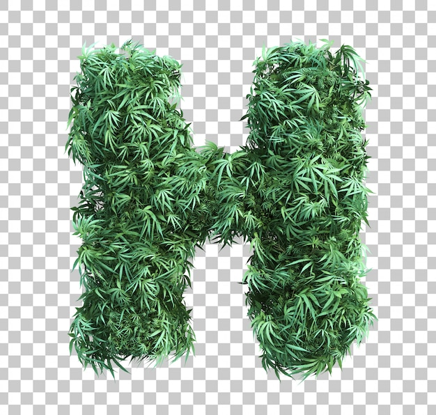 3d rendering of cannabis alphabet h