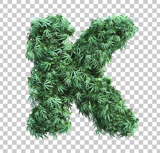 3d rendering of cannabis alphabet k