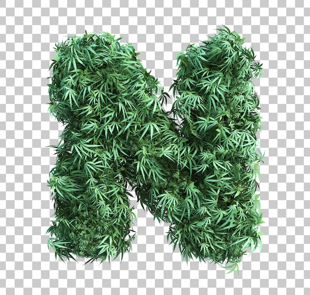 3d rendering of cannabis alphabet n