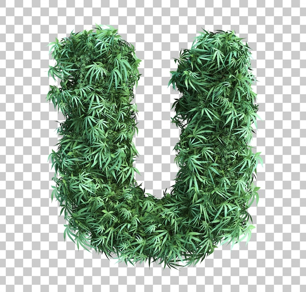 3d rendering of cannabis alphabet u