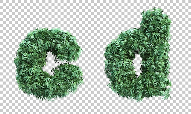 3d rendering of cannabis letter c and letter d
