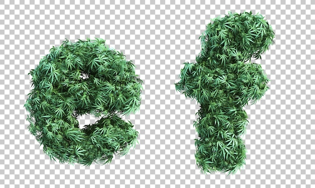 3d rendering of cannabis letter e and letter f