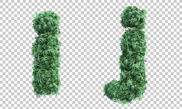 3d rendering of cannabis letter i and letter j