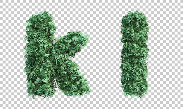 3d rendering of cannabis letter k and letter l