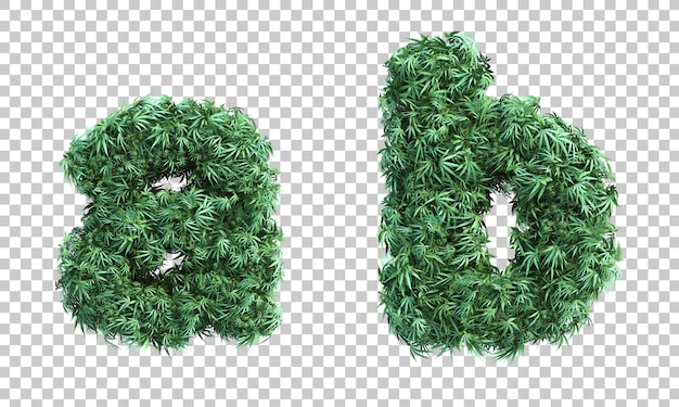 3d rendering of cannabis letter a and letter b