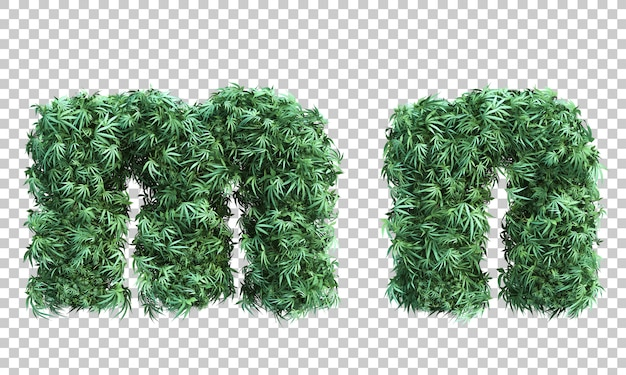 3d rendering of cannabis letter m and letter n