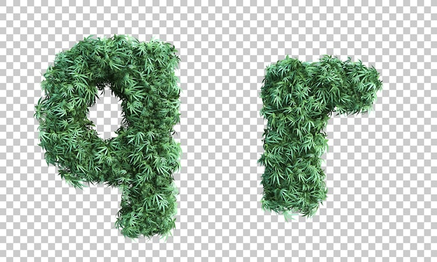 3d rendering of cannabis letter q and letter r