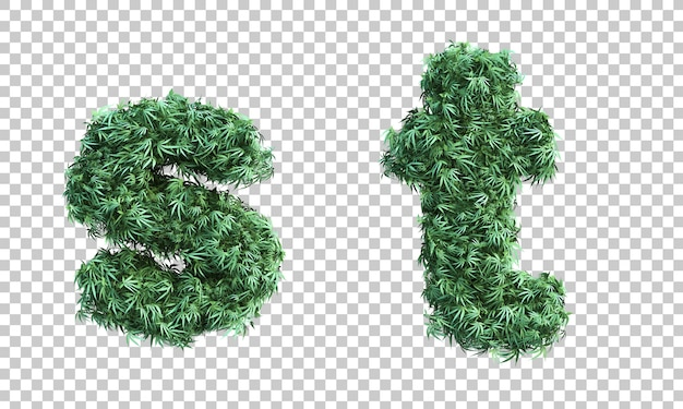 3d rendering of cannabis letter s and letter t