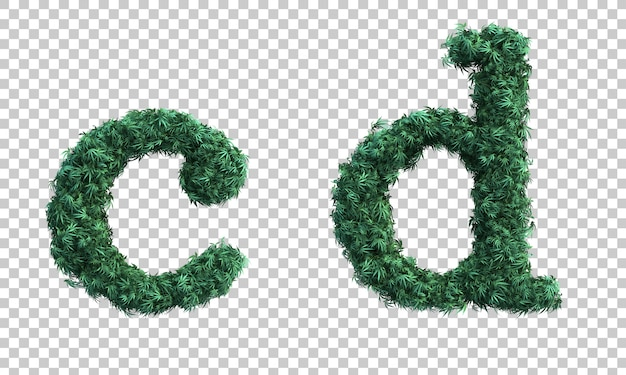 3d rendering of cannabis lowercase alphabet c and alphabet d