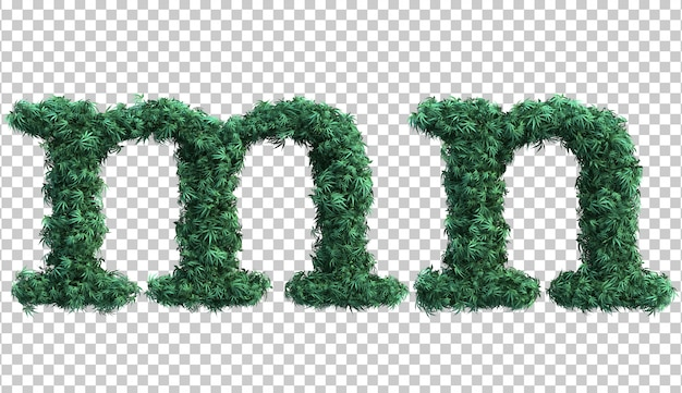 3d rendering of cannabis lowercase alphabet m and alphabet n