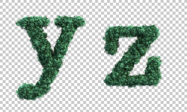 3d rendering of cannabis lowercase alphabet y and alphabet z