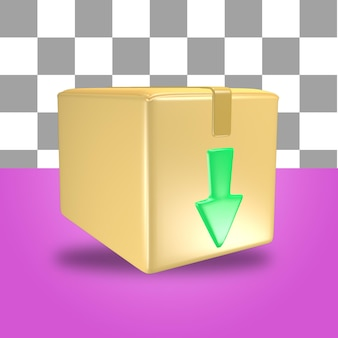 3d rendering of cardboard package box icon object with green arrow