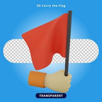 3d rendering carry the flag illustration