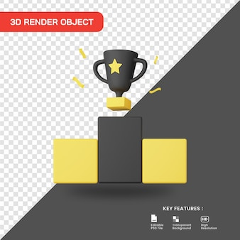 3d rendering champion trophy icon