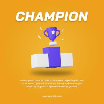 Шаблон оформления поста в социальных сетях трофея чемпиона 3d рендеринга. спортивный дизайн иллюстрации.