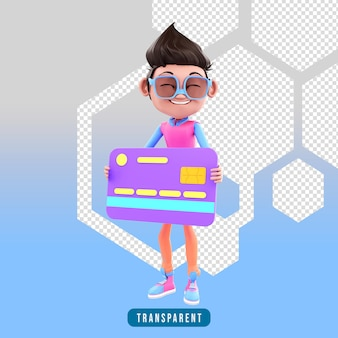3d rendering of character holding a credit card