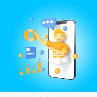3d-рендеринг персонажа в смартфоне с инфографикой