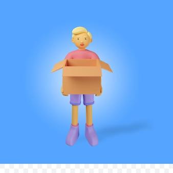 상자가 있는 3d 렌더링 문자