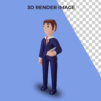 3d rendering of character with business concept