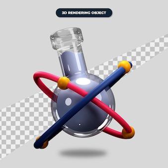 3dレンダリング化学アイコン、原子記号の付いたフラスコ