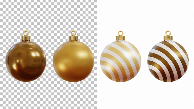 3d rendering of christmas baubles isolated