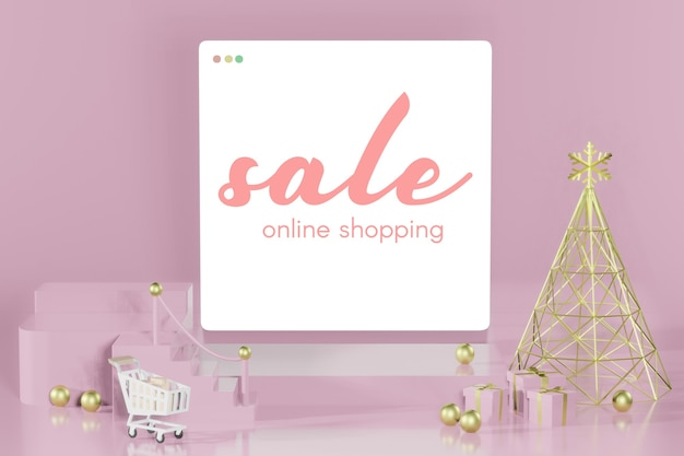 3d rendering of christmas empty mockup online shopping