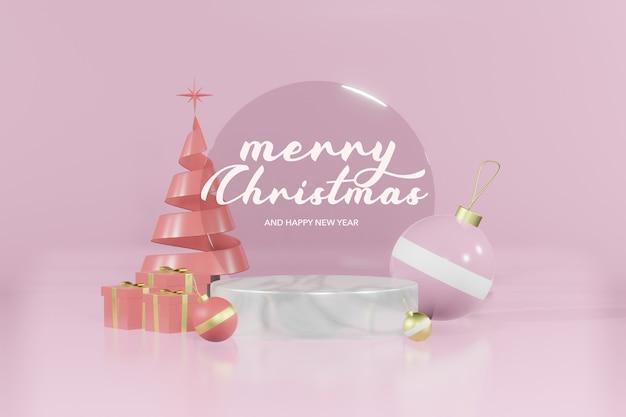 3d-рендеринг рождественский пустой подиум макет